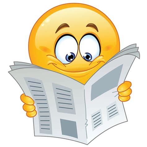 reading a newspaper symbols emoticons