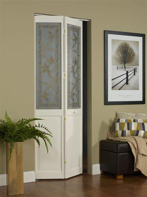 tuscany decorative glass bifold door with vine design