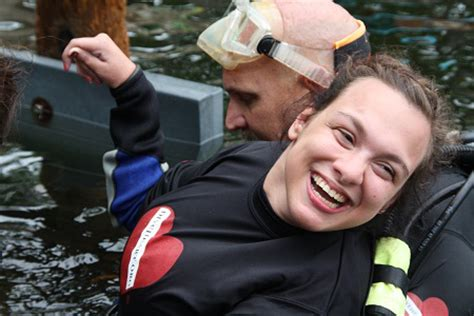 one heart reaching people with disabilities with the love of diveheart imagine the possibilities underwater has to