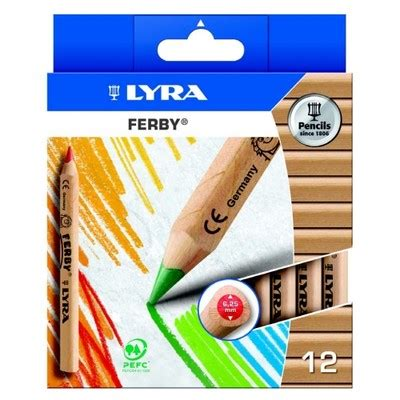 Lyra Ferby Lacquered Pencil Set 6 lyra ferby half size colouring pencils wood finish pack of 12
