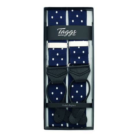 Ready Stock New Arrival Eliza Polcadot Luxury luxury polka dot jacquard braces leather ends navy white