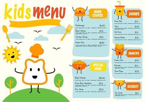 free template kids menu vector download free vector art