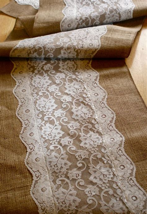 Burlap Table Runner With Lace by Custom Made Wedding Table Runner Lace And Burlap