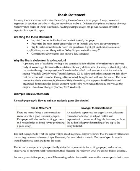 thesis statement paragraph sle thesis statement 10 exles in word pdf