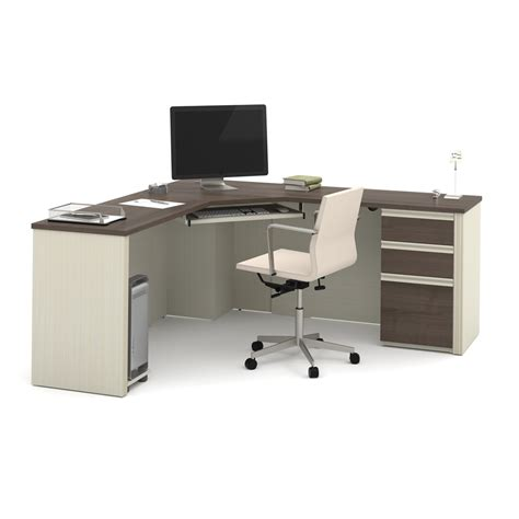 Bestar Hton Corner Computer Desk Prestige Corner Desk Including One Pedestal In White Chocolate Antigua