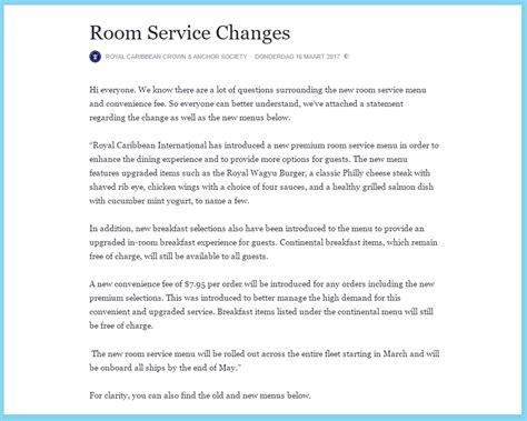 royal caribbean room service a royal fee for room service cruisetotravel
