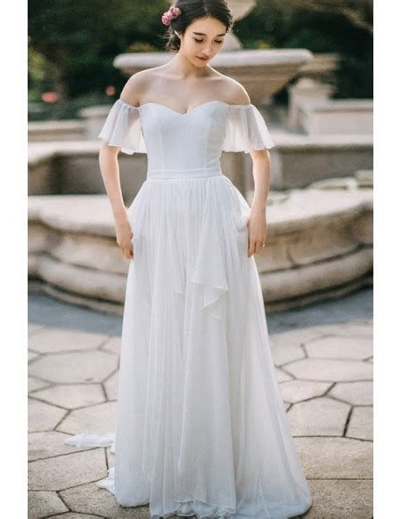 simple flowy chiffon  shoulder sleeve summer wedding