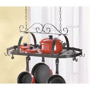 Pan Holder Rack Wrought Iron Hanging Pots Pan Kitchen Rack Holder