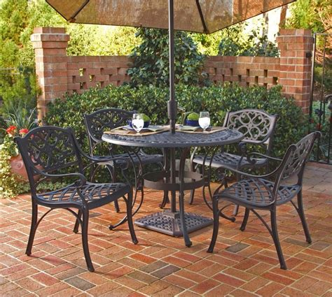 patio dining set with bench biscayne 42 inch cast aluminum outdoor dining set with 4