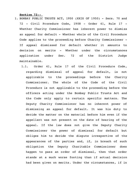 civil code section 1950 5 judgments on bombay public trust act relvant for state of