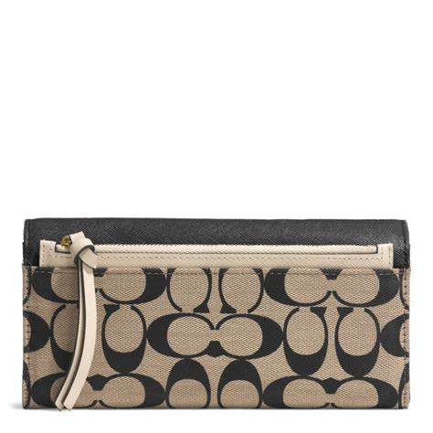 Coach Legacy Signature Cotton Slim Flap lyst coach legacy slim envelope wallet in printed
