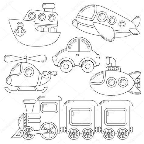 barco animado blanco y negro conjunto de icono de transporte de dibujos animados coche