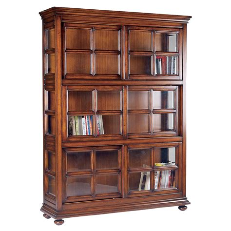 Wooden Bookshelves With Glass Doors Brown Wooden Bookshelves Features Glass Door Of Cool