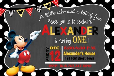 mickey mouse card template 31 mickey mouse invitation templates free sle