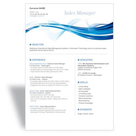 Free Resume Sles In Word Word Cv R 233 Sum 233 Template Sales Manager