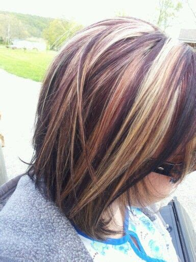 chunky red blonde and brown highlight pictures dark brown with red and blonde highlights my style
