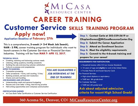 service certification customer service skills career program mi casa resource centermi