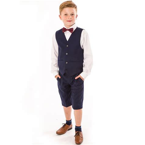 Set Boy Navy boys 4 navy shorts set suit with bow tie boys 4