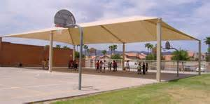 Permanent Shade Canopy by Outdoor Basketball Court Shade Shade N Net