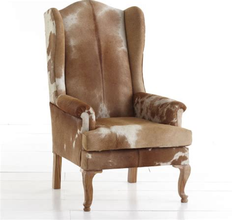cowhide armchair cowhide wingback chair eclectic armchairs and accent