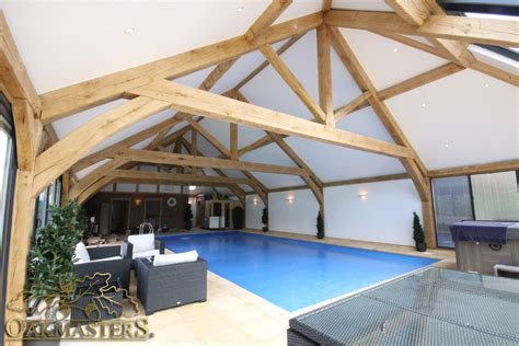 A Frame Cottage oak frame engineering for swimming pool steyning west
