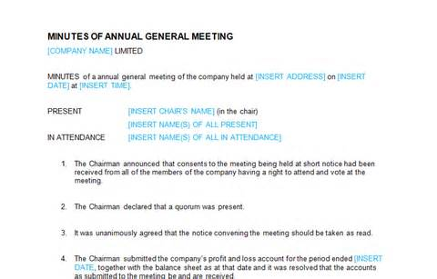 Annual General Meeting Minutes Template by Board Meeting Minutes Of Annual General Meeting Template