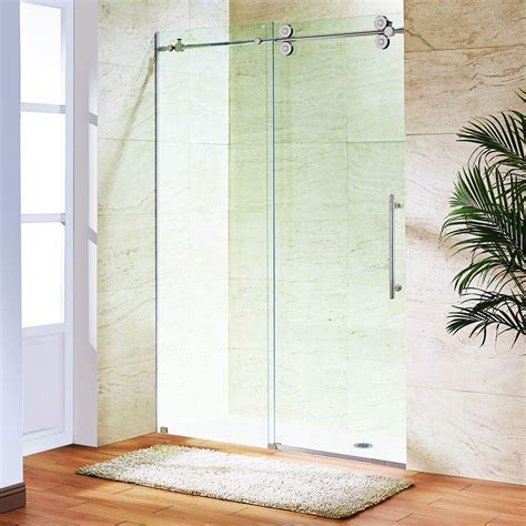 Bypass Shower Doors Frameless Vigo 60 In X 74 In Frameless Bypass Shower Door In Stainless Steel With Clear Glass