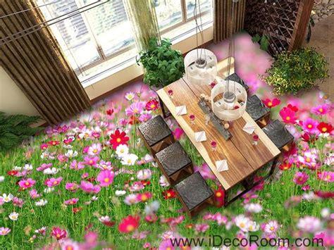 Jw Wallpaper Sticker Pink Grass pink white flower grass garden 00043 floor decals 3d wallpaper wa idecoroom
