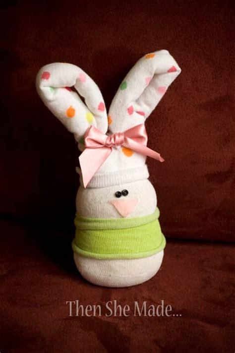 sock egg bunny then she made sock bunnies