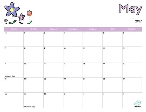 kid calendar template 2017 printable calendar for imom
