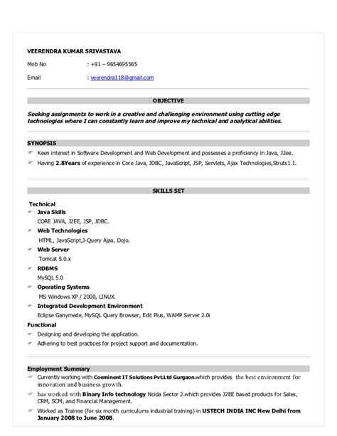 resume for java developer with year experience templates resume for java devloper