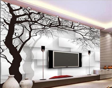 wall paper black  white tree box  woven wallpaper