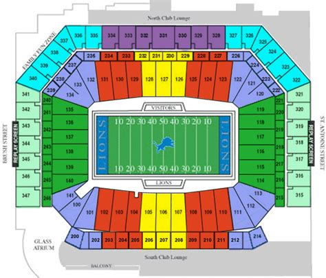 field seating chart detroit lions seating chart
