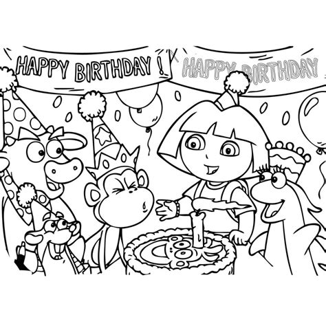 dora diego birthday coloring pages