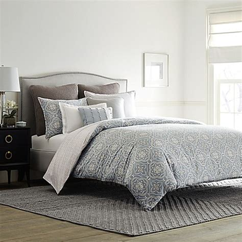 real simple bedding real simple 174 anya reversible duvet cover in dusty blue bed bath beyond