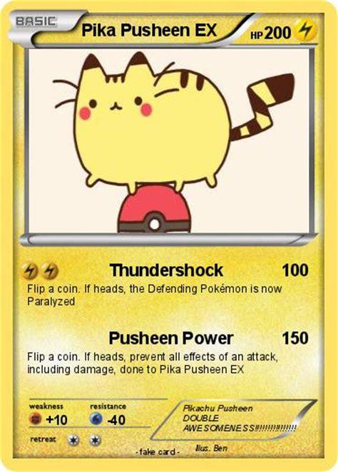 pokemon pika pusheen  thundershock  pokemon card