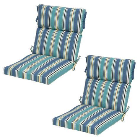 hampton bay rainforest stripe outdoor dining chair cushion