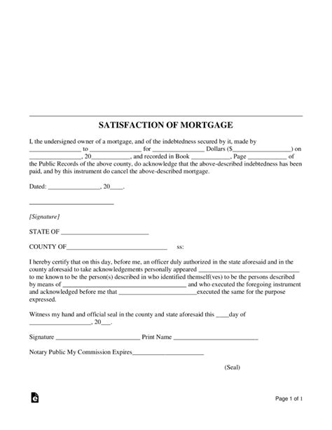 satisfaction of mortgage form free mortgage lien release satisfaction of mortgage form