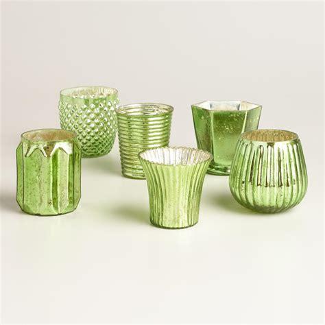 green votive holders green mercury glass votive candleholders set of 6 world