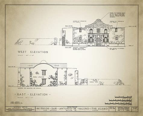 Online Floor Plan Drawing historic building survey the alamo drawing by bill cannon