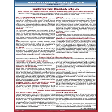 printable equal employment opportunity poster federal eeo poster large print poster compliance