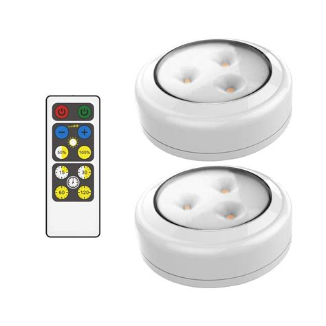 led white puck light with remote 2 pack brrc134 the
