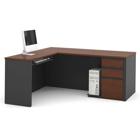 Bestar Prestige L Shaped Workstation With Single Pedestal Bestar Computer Desk