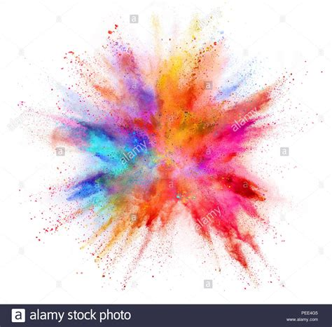 explosion of colors explosion of coloured powder isolated on white background