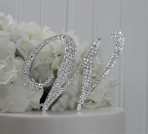 letter w wedding cake topper 4 quot monogram wedding cake topper decorated with swarovski