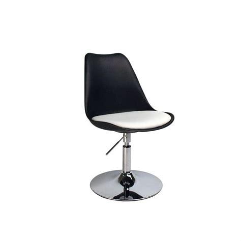 chaise design pivotante noir et blanc steevy achat