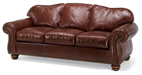 flexsteel living room leather sofa with nailhead trim 3648