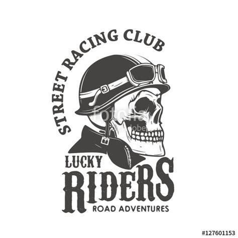 street racing design elements vector quot lucky riders street racing club skull in racer helmet