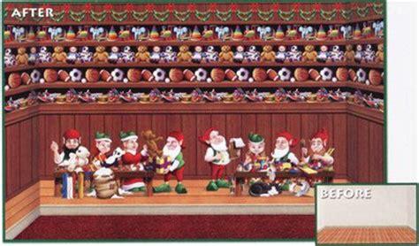 werkstatt vom weihnachtsmann weihnachtsmann werkstatt spielzeugregal wanddeko