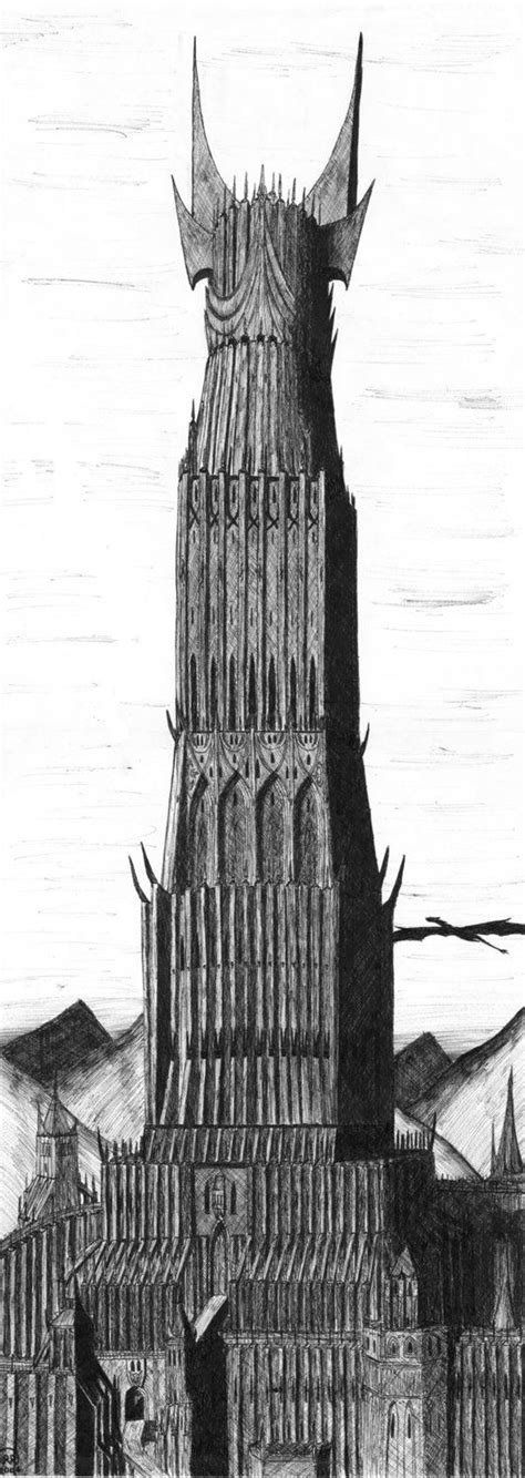 Barad Dur, the tower of Mordor | LOTR drawing in 2019